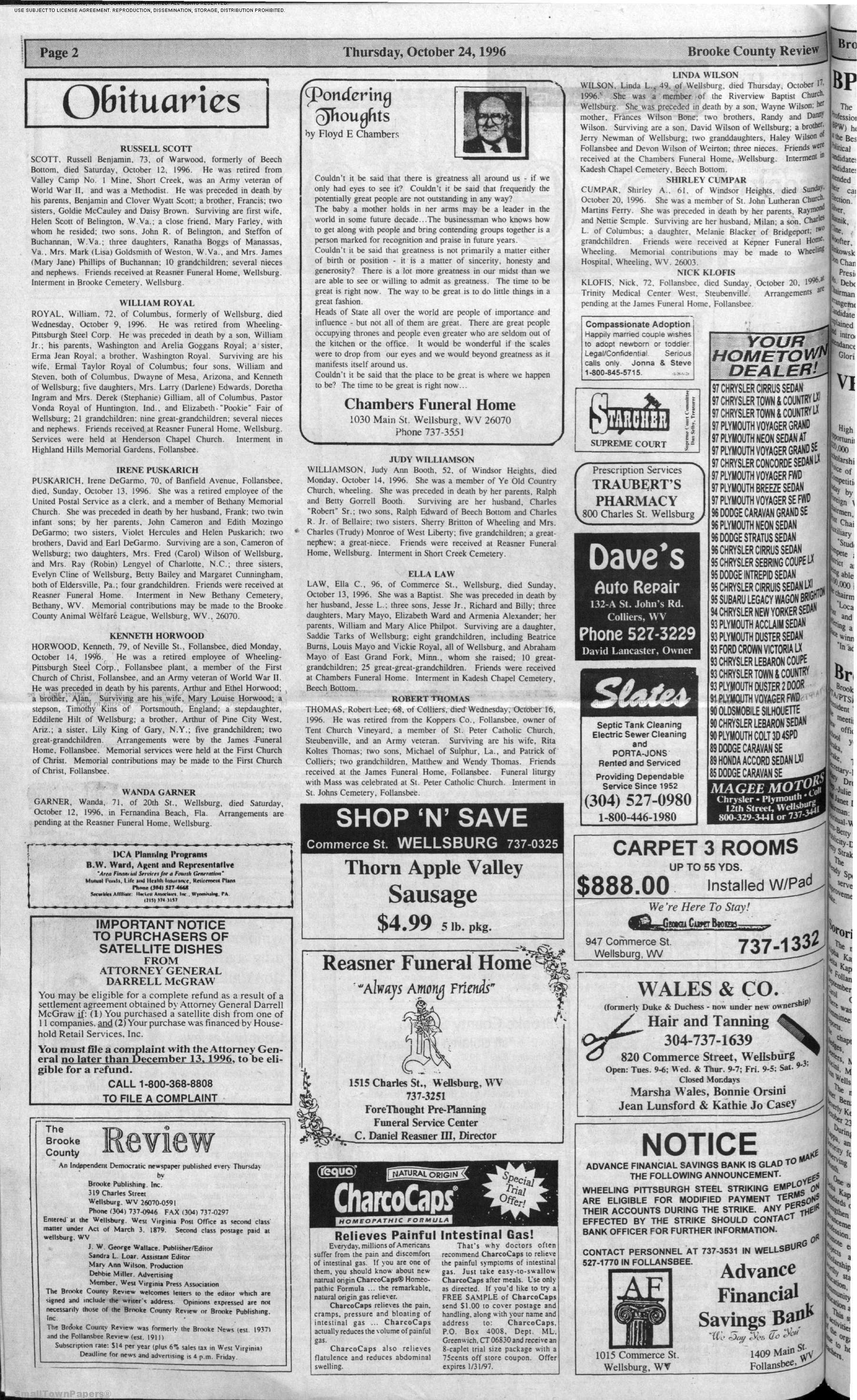 The Brooke County Review October 24 1996 Page 2
