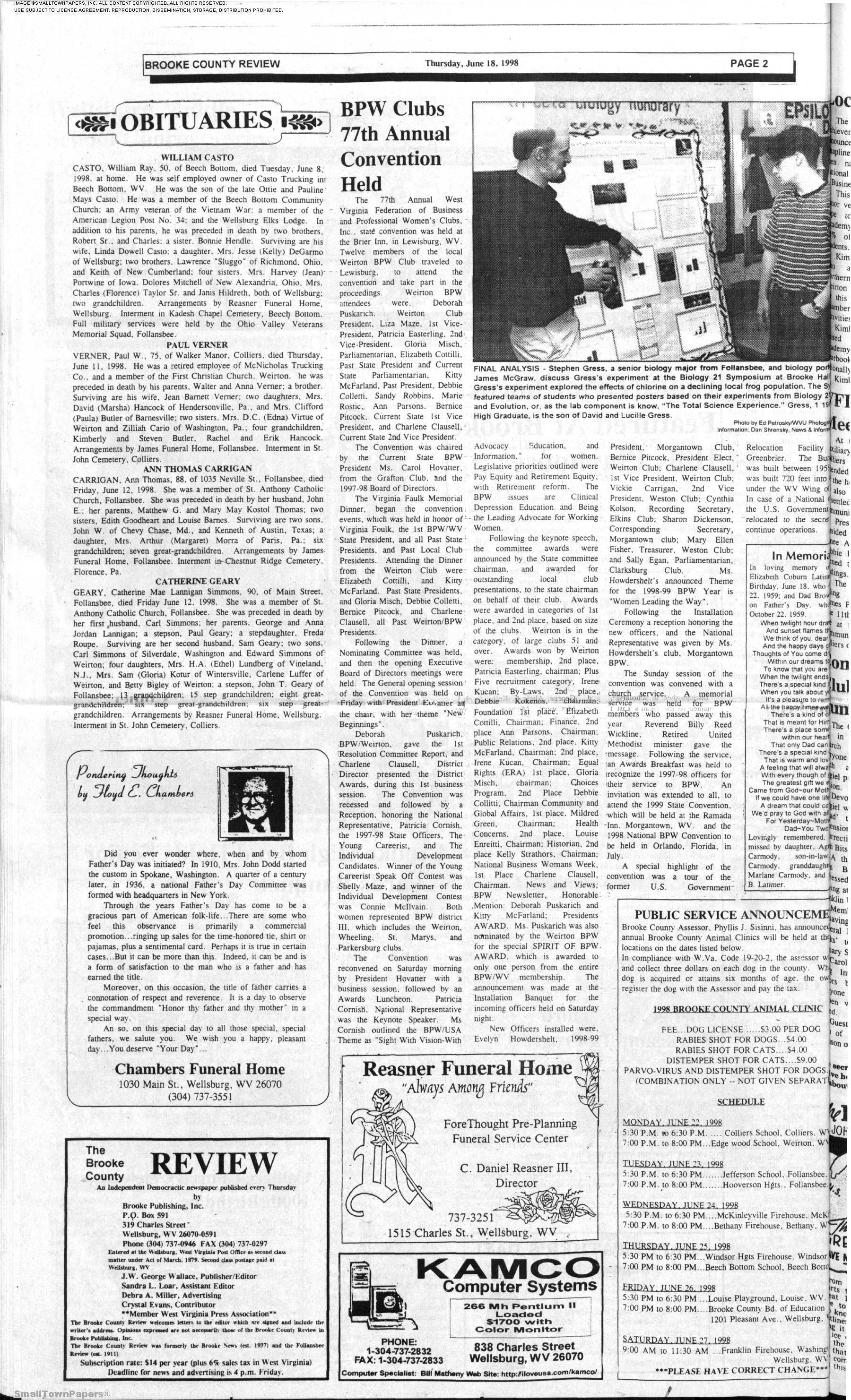 The Brooke County Review June 18 1998 Page 2