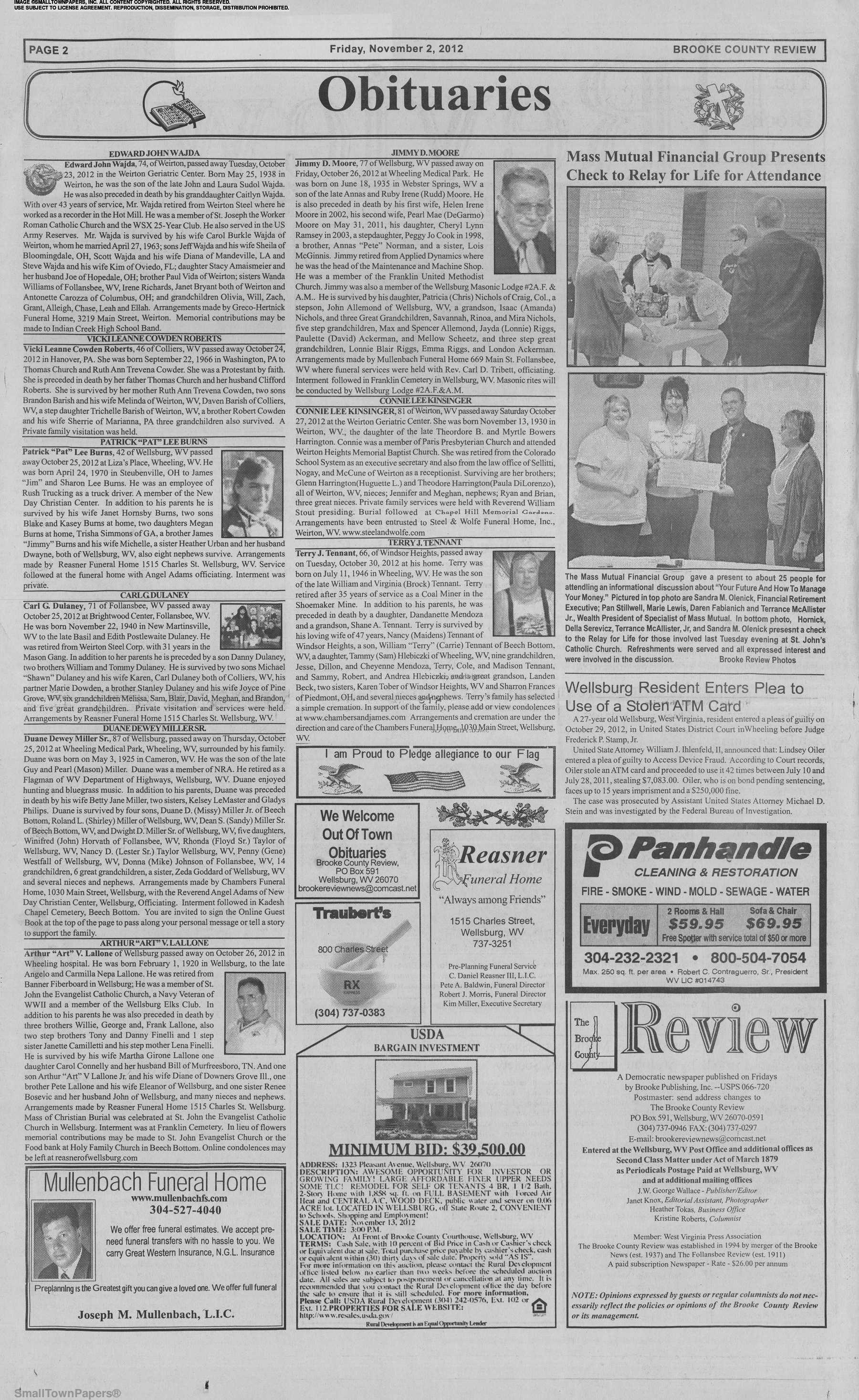 The Brooke County Review November 2 2012 Page 2